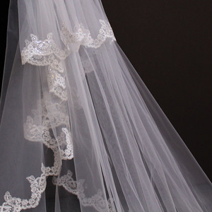 Image 4 - Di Alta Qualità 5 Metri Pulito Sparkle Sequins Del Merletto Del Bordo 2T Velo da Sposa con Pettine 5 M Lungo di Lusso 2 strati di Velo da Sposa