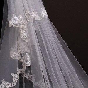 Image 4 - Hohe Qualität 5 Meter Ordentlich Sparkle Pailletten Spitze Rand 2T Hochzeit Schleier mit Kamm 5 M Lange Luxus 2 schichten Braut Schleier
