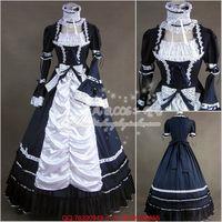 Halloween Victorian Gothic Lolita Elbise Cosplay Uzun Katmanlı Katmanlı Kadınlar Balo Kostüm Vintage Vestidos Elbiseler