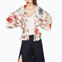 2017 Vintage Floral Print Kimono Shirts Summer Women Bat Sleeve Oversized Open Coat Casual Loose Cardigan
