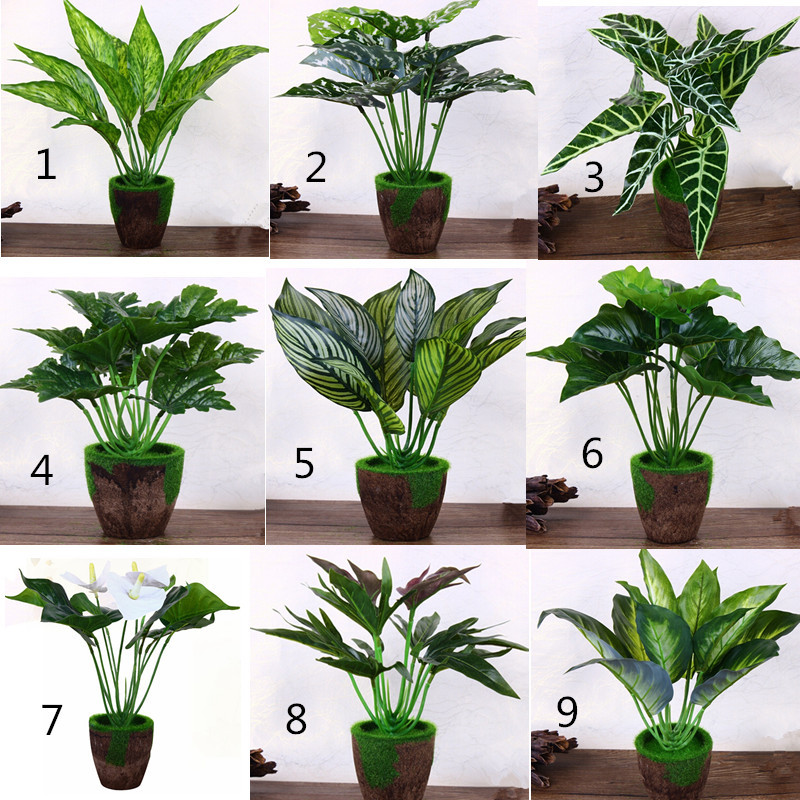 New 6 Set Latex Fabric Wood Christmas Home Decor Artificial Tropical Plant Tree With Moss Vase