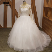 HCWBridal Wonderful Puffy Long Sleeve Wedding Dress Chic Beaded Lace Tull Vintage Wedding Gowns See Through Arabic Bridal Dress