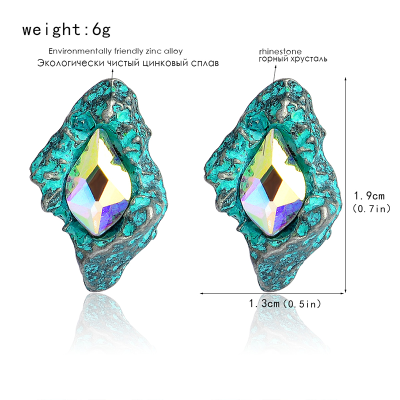 New Womens Fashion Earrings Shinning Elegant Lovely Black/Green Glass Black Resin Sweet Metal with Gems Ear For Women banquet
