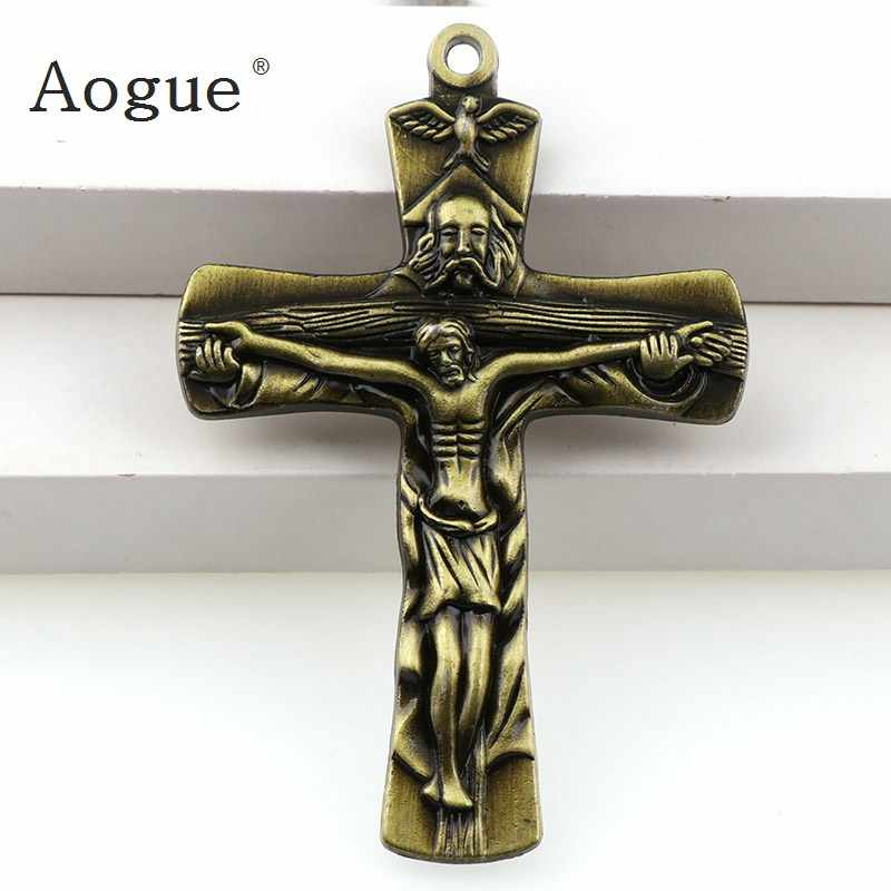 3 kolory jezus krucyfiks biżuteria chrześcijańska krzyże Charms święty benedykt krucyfiks zawieszki na wisiorki naszyjnik