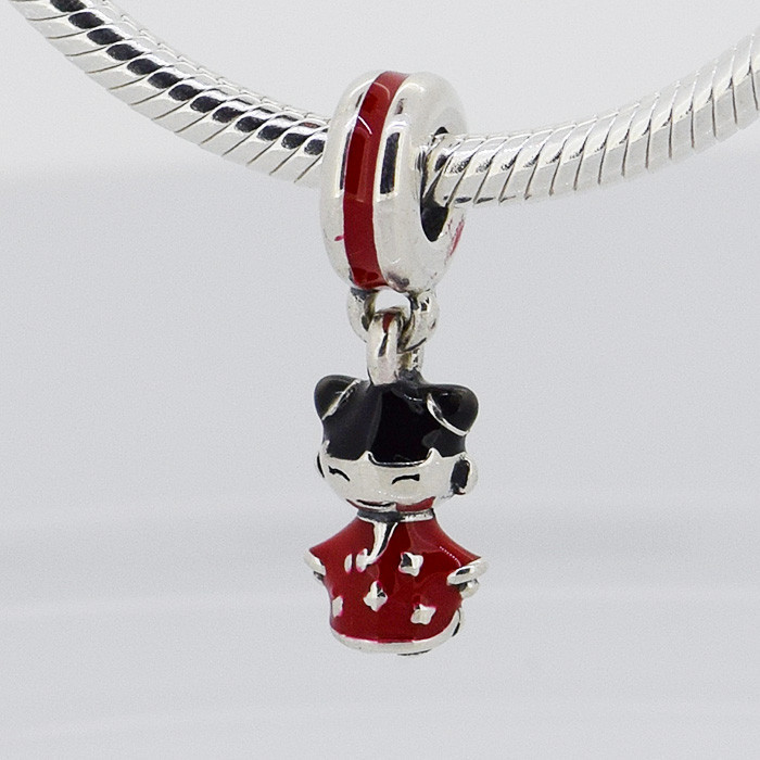 Fits Pandora Charms Bracelet DIY Beads Chinese Doll Silver Dangle With Red And Black Enamel Original 925 Sterling Silver Jewelry