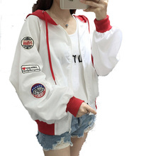 College Harajuku Coat Female Windbreaker Basic Coats Spring Sun Protection Thin Jacket Women Casual Hooded Plus size Coat