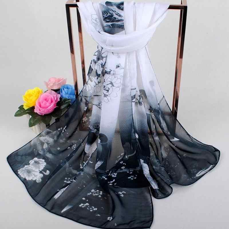 Pañuelo estampado Floral bufandas mujer primavera Boho playa chal elegante damas Casual largo de gasa suave bufanda