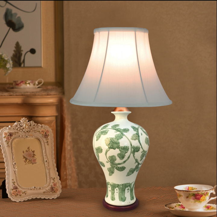 Chinese green twig ceramic Table Lamps modern handmade white cloth shade E27 LED lamp for table&studio&bedside&foyer ZSTCDSC002