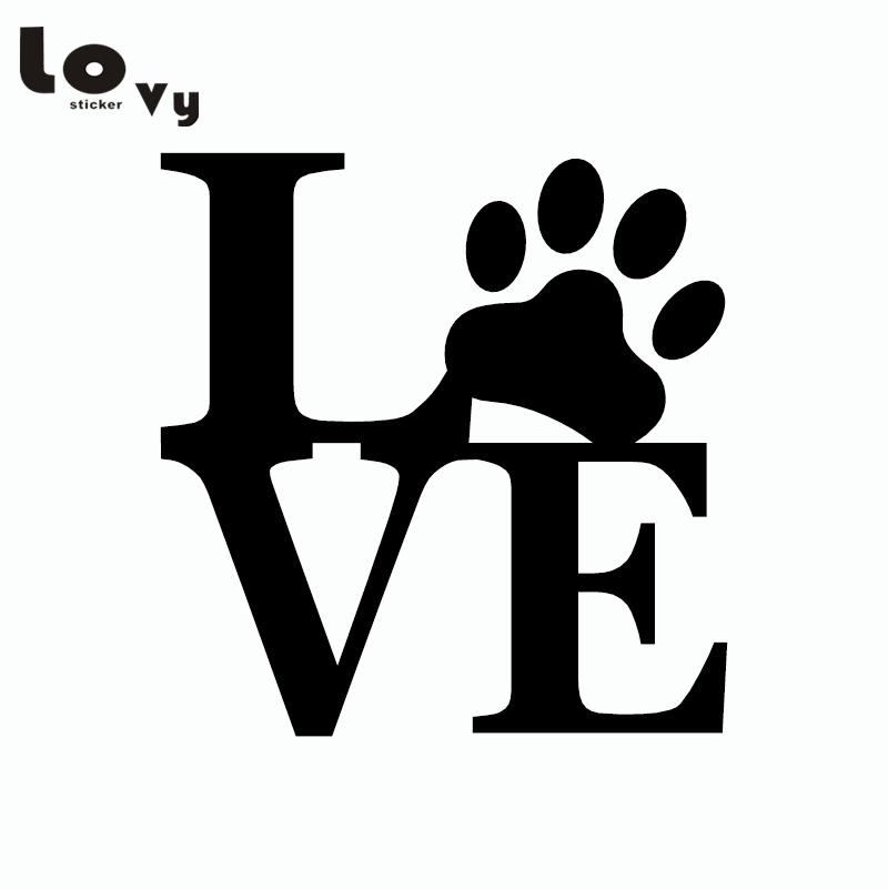 Download Cute Love Dog Paw Print Car Sticker Cartoon Animal Vinyl ...