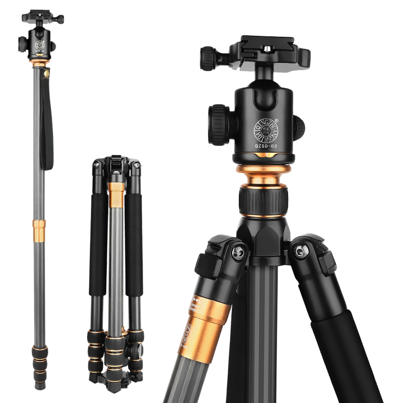 Original QZSD Q999C Professional Carbon Fiber DSLR Camera Tripod Monopod+Ball Head/Portable Photo Camera Stand/Better Than Q999