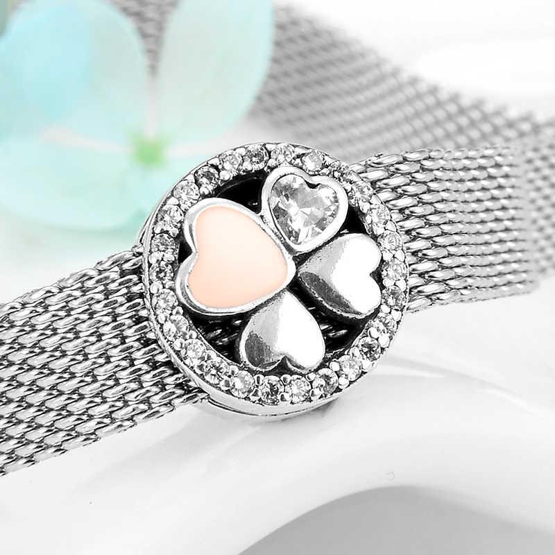 Gorąca sprzedaż 925 srebro serca cztery liść koniczyny Charms klipy koraliki fit oryginalny srebrny 925 odbicia bransoletki biżuteria