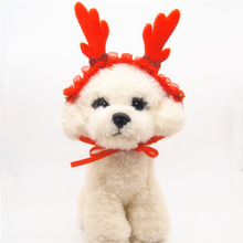 Фотография Cute dog pet cat christmas elk costume outfit dog antler hat cap dog headwear Dog hair accessories Dog grooming accessories