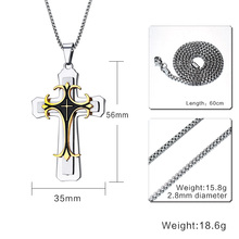Stainless Steel Large Cross 3-Tone Pendant Necklace