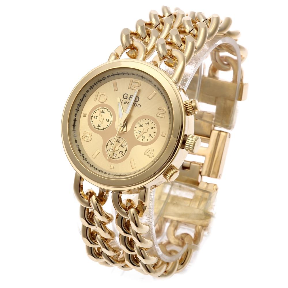 G & D Top Märke Lyx Kvinnor Klockor Quatz Armbandsur Rostfritt Stål Mode Klänning Klocka Reloj Mujer Gåva Relogio Feminino Guld