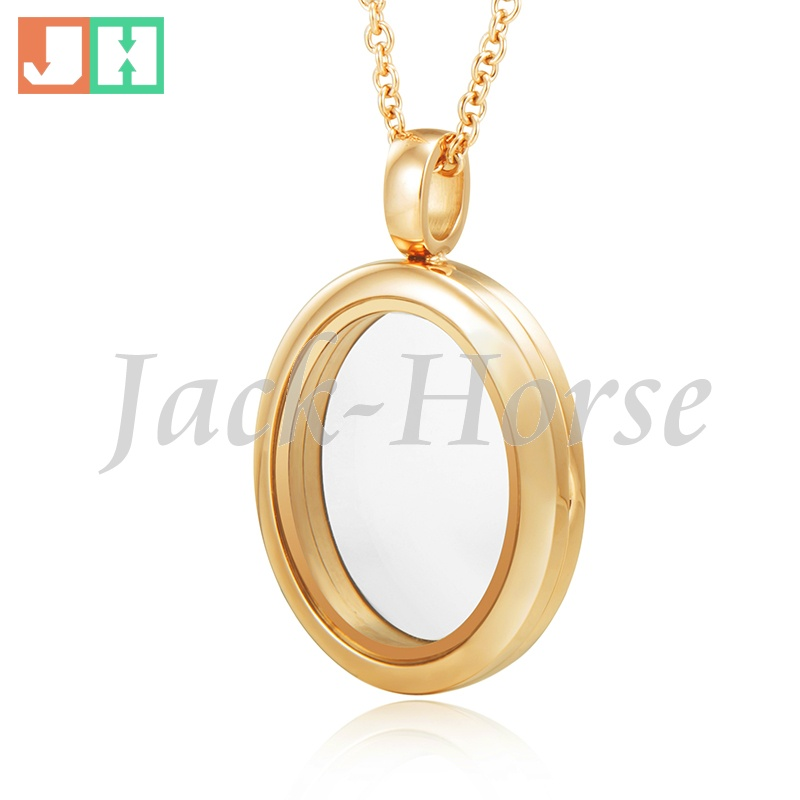 Newest gold oval locket pendant 316 stainless steel floating living memory locket necklace