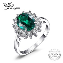 JewelryPalace Green Emerald 925 Sterling Silver Fashion Princess Diana Engagement Wedding Ring For Women Solitaire