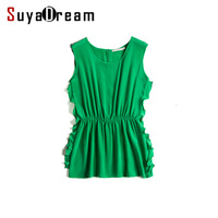 100 REAL SILK Women Tanks O Neck Solid Green Tank Top Sleeveless Fashion Ruffles Side Hems