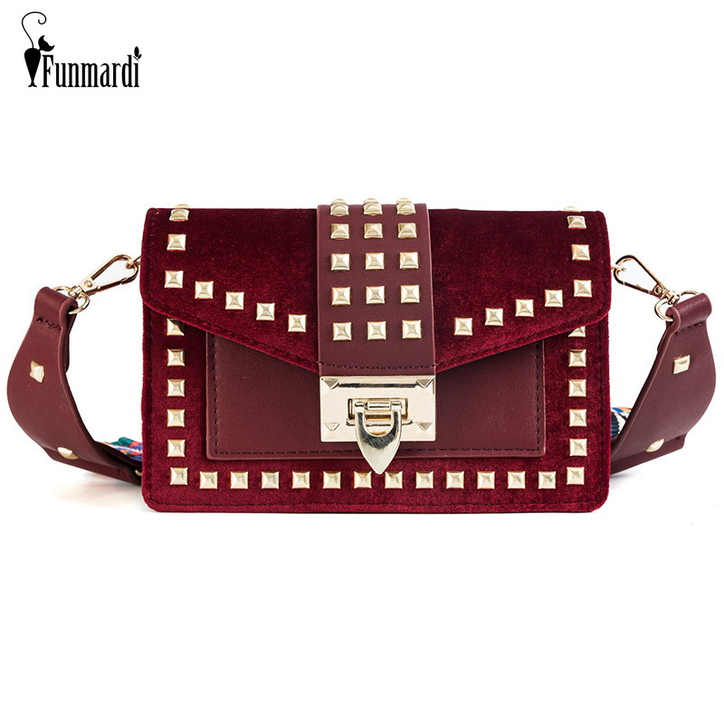 FUNMARDI Fashion Rivet Messenger Bag Female Shoulder Bag Velour Designer Small Bag For Women Brand Luxury Crossbody Bag WLHB1810
