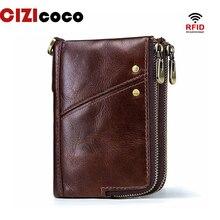 все цены на Genuine Leather Men Wallets Vintage Cow Leather Card Holder Double Zipper Men Purse RFID Blocking Wallet Coin Purses