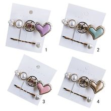 Korean Imitation Pearl Jewelry Hair Clips Women Girls Candy Color Heart Hollow Star Wavy Bobby Pins Styling Accessories