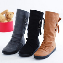 hot Little short boots lady fashion bowknot in winter flat knight women's boots 40-43