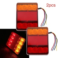 2Pcs Waterproof 8 Car LED Tail Light Rear Lamps Pair Boat Trailer 12V Rear Parts For