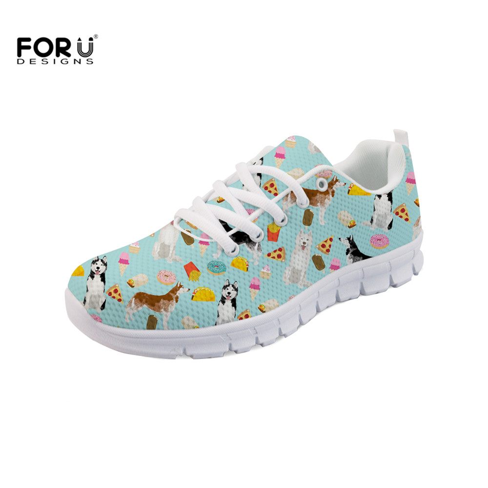 FORUDESIGNS Autumn Flats Women Shoes Husky Siberian Huskies Junk Food Cute Dog Fashion Brand Women's Sneakers Chaussures Femme image