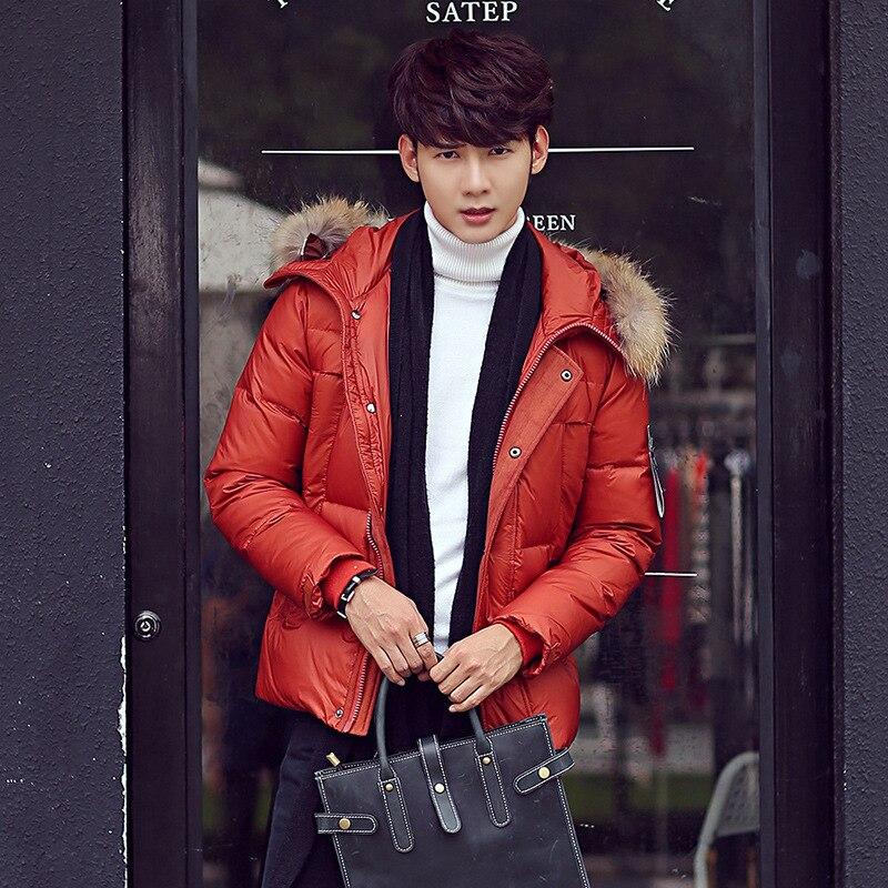 Korean men s hooded down jacket Nagymaros collar outwear Windbreaker Windproof warm Jackets Down Coats parka