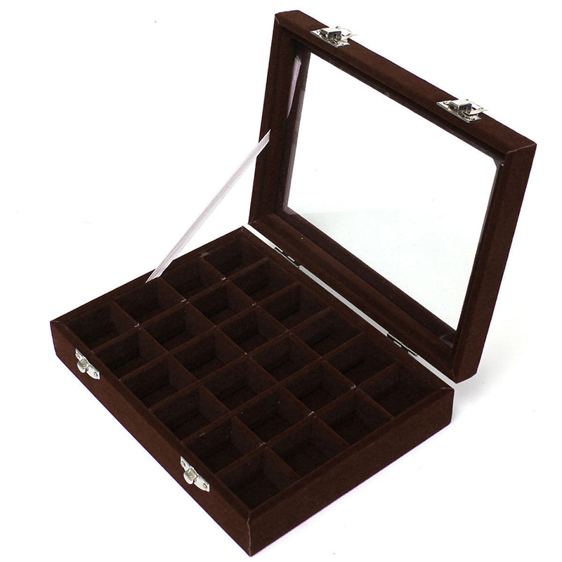 Royal Velvet With Glass Jewelry Box (24 Grid) 11