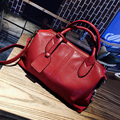 Top Quality Red Leather Women Messenger Bag 2017 New European Boston Handbag Candy Color Women Shoulder Bag sac a main Lady Tote