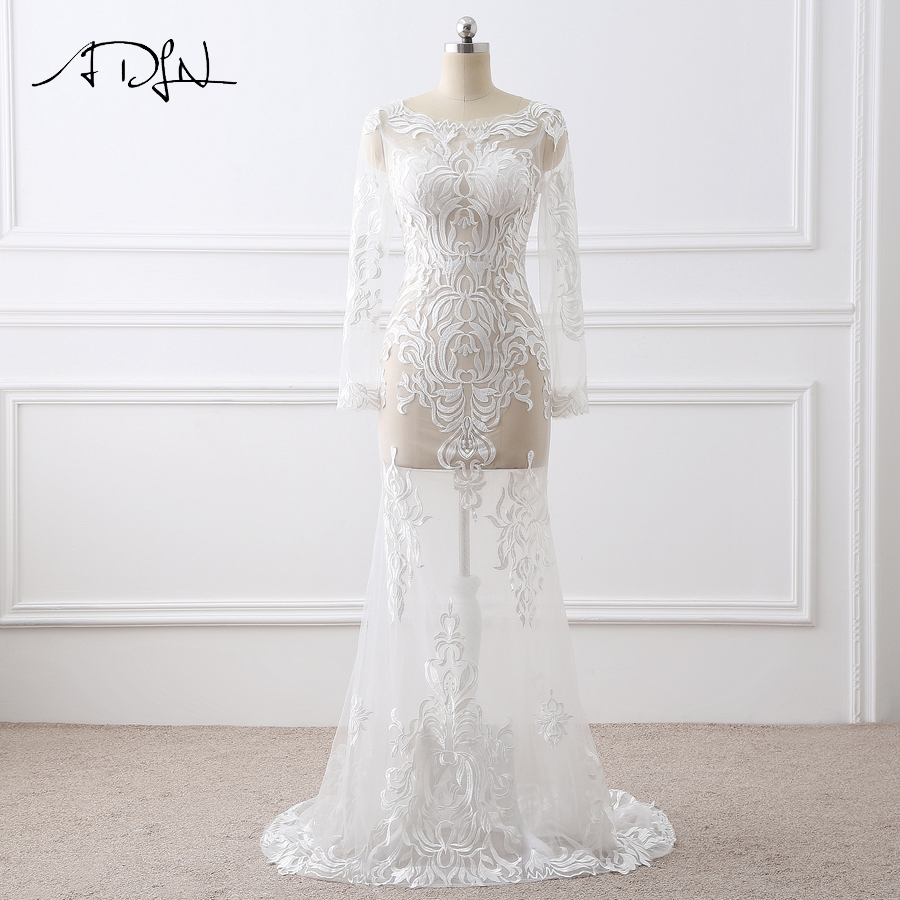 ADLN Sexy Illusion Wedding Dresses Long Sleeves Lace Mermaid Wedding Gowns  Robe De Mariage Lace- e06582cfe54e