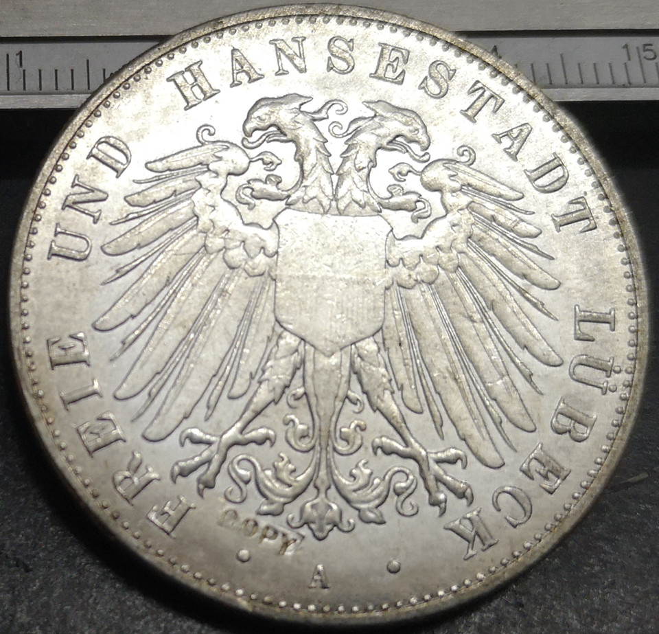 1904 Free Hanseatic city of Lubeck 5 Mark Silver Plated Copy Rare coin