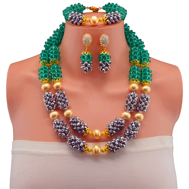 Luxury African Jewelry Nigerian Wedding Party Beads Necklace Set Women Costume Jewelry Set Free ShippingLuxury African Jewelry Nigerian Wedding Party Beads Necklace Set Women Costume Jewelry Set Free Shipping