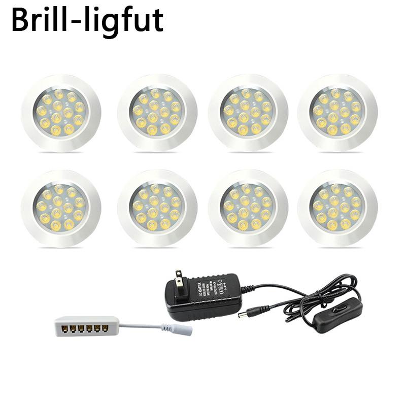 Dimmable 12V Under Cabinet Light LED Puck Lights Wireless Downlight Spotlights For Under Counter,Shelf Furniture Kitchen Lights