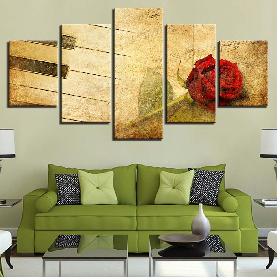 Canvas Paintings Kitchen Wall Art Framework 5 Pieces Red Rose Piano ...