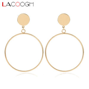2c03694d0 Lacoogh 2018 New Trendy Bohemia Alloy Round Hoop Earrings for Women Fashion  Gold Color Statement Earrings Fashion Jewelry