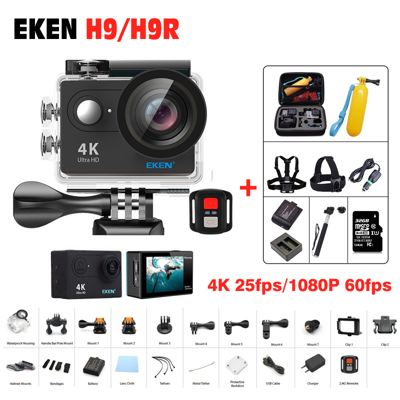 Action camera Original EKEN H9 / H9R Remote Ultra hd 4K wifi Camera 1080P /60fps 2.0 LCD 170D 4 K pro sport waterproof go Camera 2017 original eken h9r sports action camera 4k ultra hd 2 4g remote wifi 170 degree wide angle