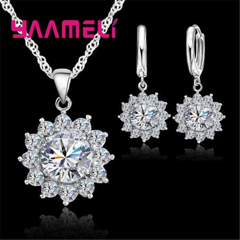 Real 925 Sterling Silver Necklace Earrings Jewelry Sets for Women Sparkling Cubic Zircon Sunflower Party Fashion Costume