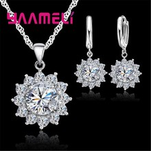 Real 925 Sterling Silver Necklace Earrings Jewelry Sets for Women Sparkling Cubic Zircon Sunflower Party Fashion Costume(China)
