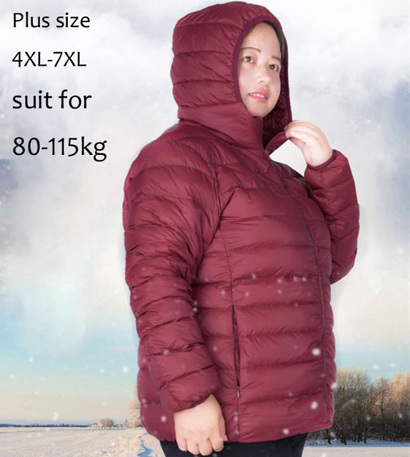 Spring Fall Winter Woman Hooded Plus Size 4XL-7XL White Duck Down Jacket Female Ultra Light Down Jackets Fat Girl Outwear Parkas