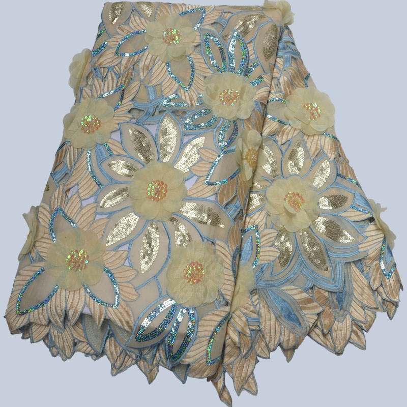 Ev ve Bahçe'ten Dantel'de Afrika Sarı Pamuk Dantel Kumaş Elbise Için Yüksek Kaliteli Afrika Dantel payetli kumaş Nijeryalı % 100% pamuk Dantel RT004'da  Grup 1