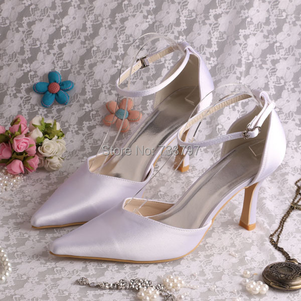 (20 Colors)Custom to Make 8CM Heels Pointed Toe Pumps White Satin Bridal Shoes