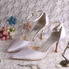 (20สี)ที่กำหนดเองที่จะทำให้8เซนติเมตรส้นแหลมปั๊มนิ้วเท้าผ้าซาตินสีขาวรองเท้าเจ้าสาว
