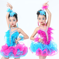 Child Professional Latin Dance Dress for Stage Competition Ballroom Dance Dress Girls Latin Dance Skirt Modern Ballet Dancewear