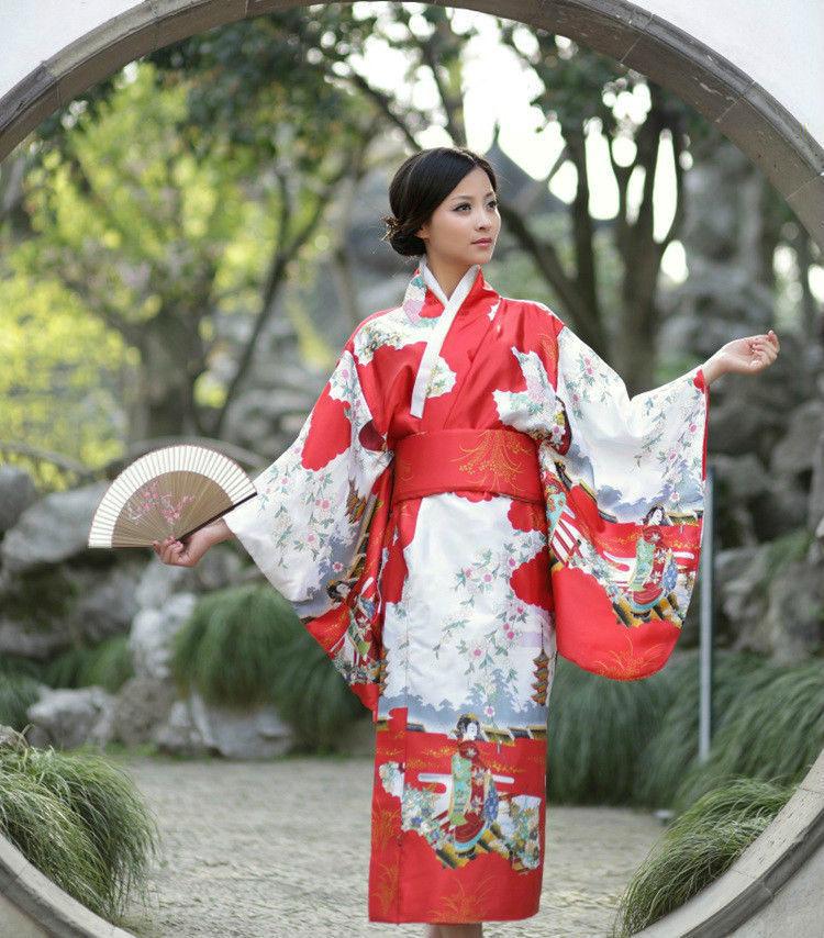 Japanese Kimono Vintage Yukata Haori Costume Retro Geisha Dress Obi Cosplay Gown RED 건달 조폭 옷