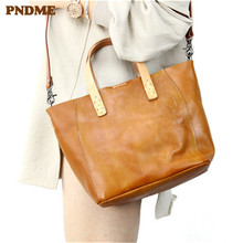 PNDME retro fashion genuine leather ladies handbag designer handmade simple soft cowhide womens tote shoulder messenger bags