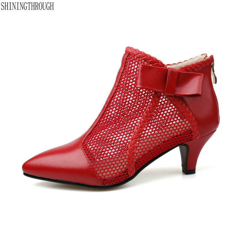 Genuine leather summer ankle boots woman Black red cut outs Ladies sweet Style High Heels 2018