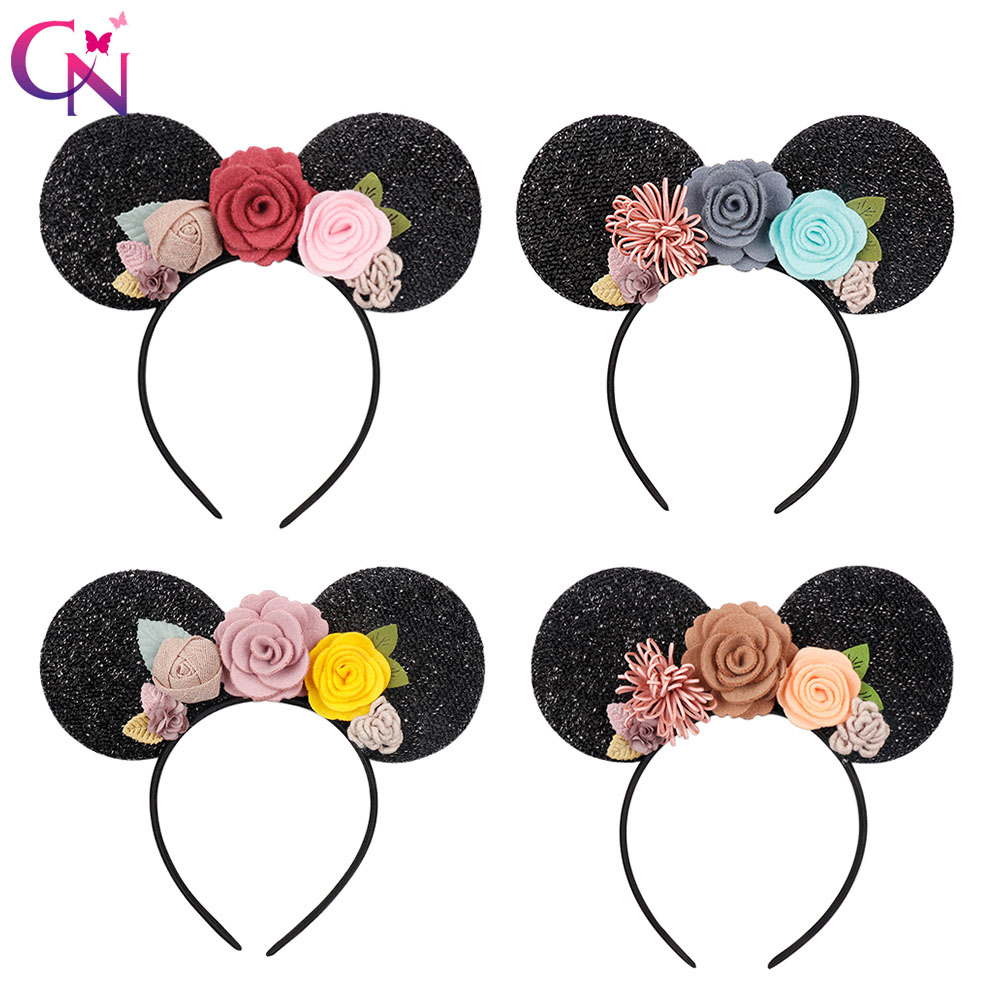 CN Hair Accessories for Girls Floral Headband Girls Minnie Mouse Ears Hairband Handmade Children Headwear in Hair Accessories from Mother Kids