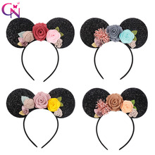 CN Hair Accessories for Girls Floral Headband Minnie Mouse Ears Hairband Handmade Children Headwear