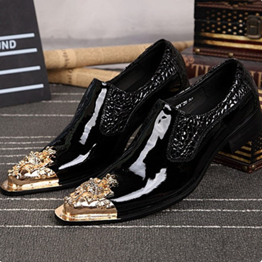 Fashion Men Leather Shoes Luxury Black Pointed Toe Mens Oxfords Slip On Wedding Dress Party Shoes Zapatos Hombre Creepers men fashion oxfords pointed toe retro